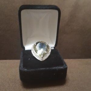 Jewelry - Giant 16+ carat praisolite in rhodium aka green am